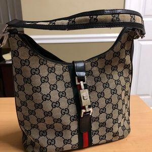 Gucci Hobo Bag Black Signature Canvas 90476
